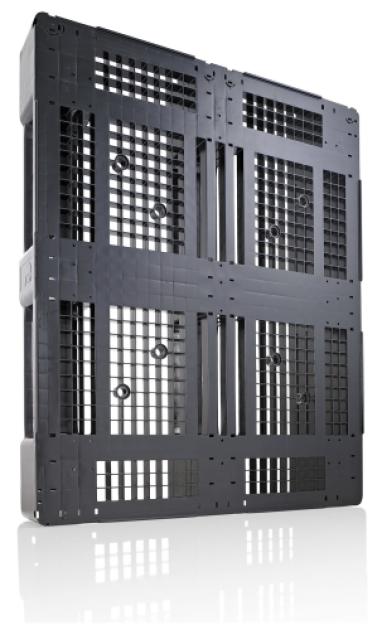 Palet industrial din plastic reciclat 1200 x 1000 – 3 sine, 1500 capacitate dinamica, 7 rims