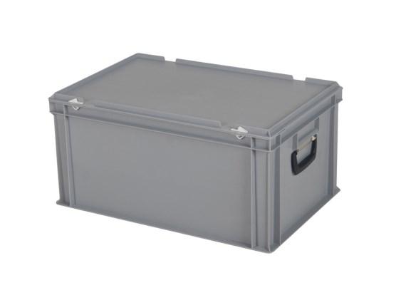 CONTAINER DE PLASTIC CU CAPAC, MANER SI BAZA INTARITA TPO – 600 x 400 x 295 H