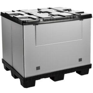 Recipient mare pliabil Mega-Pack 1000 gri-negru 1200 x 1000 x 1000 mm