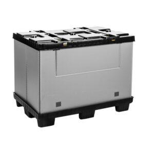 Recipient mare pliabil Mega-Pack 1200 gri-negru 1200 x 800 x 900 mm