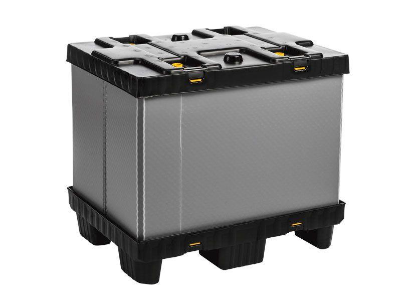 Recipient mare pliabil Mega-Pack 800 gri-negru 800 x 600 x 700 mm