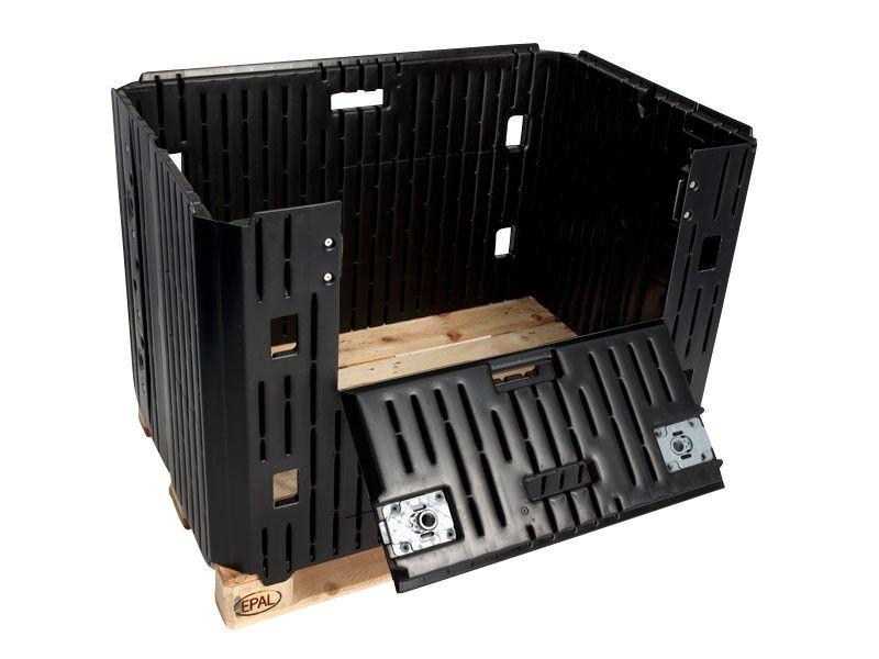 Container mare pliabil Cadru pentru paleți 800 1K negru 1220 x 825 x 800 mm