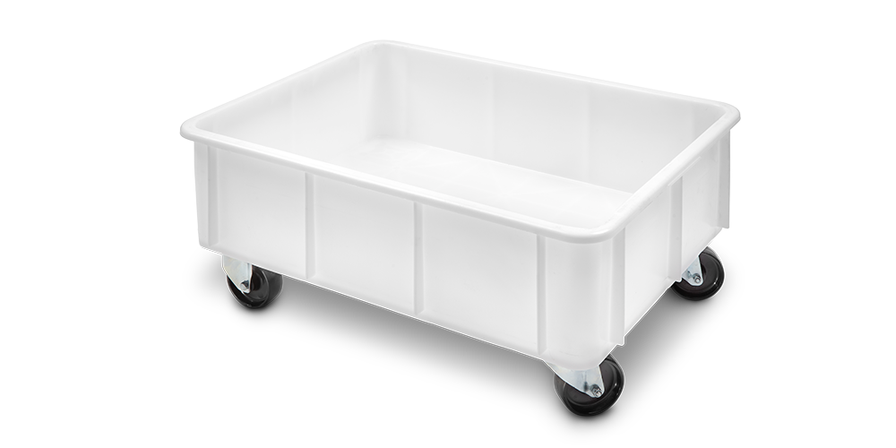 Container Pliabil cu buze curbate si roti 800x600x360