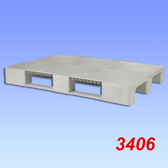 Palet standard din plastic, cu trei talpici 1200x800x150