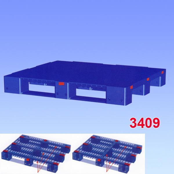 Palet din plastic, ranforsat, cu trei talpici de sustinere 1200x1000x150