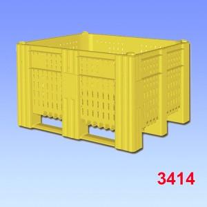 Boxpalet plastic 1000-ACE, perforat, 3 talpici de sustinere 1200x1000x740